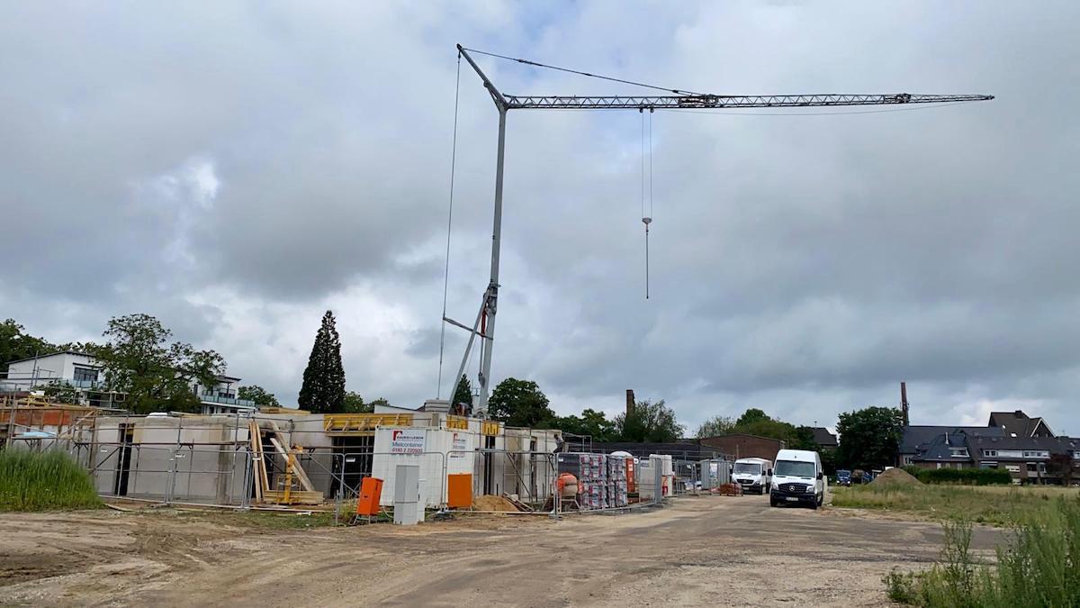 Bau der Bungalows im Burgfeld