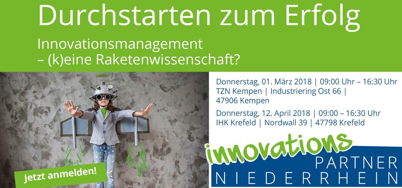 """Einladung für Unternehmer zur kostenlosen Veranstaltung """"Innovationsmanagement"""" am 1.3. und 12.4.2018 in Kempen und Krefeld"""